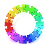 3D colorful puzzle chart wheel