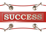 Velvet rope barrier and red carpet, with SUCCESS sign. 3D