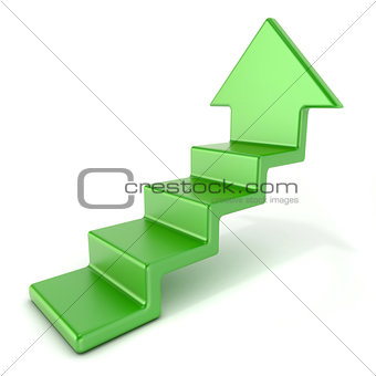 Green up arrow stairs. 3D