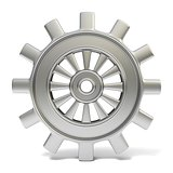 Silver cogwheel. 3D