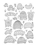 Funny turtles collection, sketch for your design