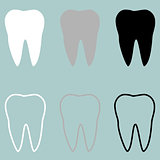 White grey black tooth icon.