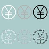 Yuan or yen symbol icon.