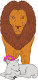 Lion Standing Over Lamb Lotus Flower Drawing