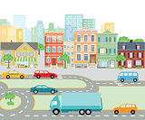 Urban traffic in the city, transport illustration