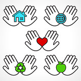 Set of environment icons with human hands
