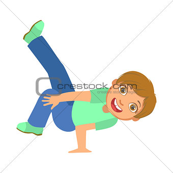 Boy Doing Stand On One Hand Dancing Breakdance Performing On Stage, School Showcase Participant With Musical Artistic Talent