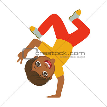 Boy Standing Upside Down On One Hand Dancing Breakdance Performing On Stage, School Showcase Participant With Musical Artistic Talent