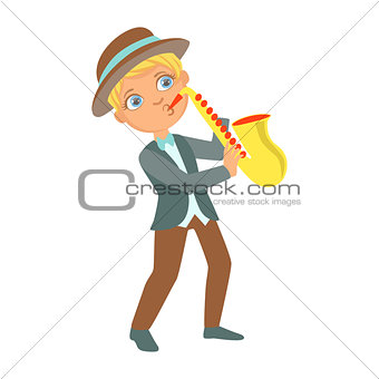 Boy Playing Jazz On Saxophone, Kid Performing On Stage, School Showcase Participant With Musical Artistic Talent