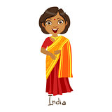 Girl In India Country National Clothes, Wearing Sari Dress Traditional For The Nation