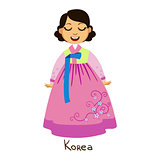Girl In Korea Country National Clothes, Wearing Pink Dress With Floral Pattern Traditional For The Nation