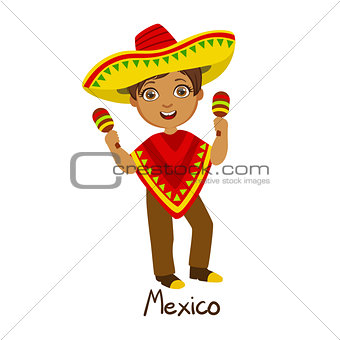 Boy In Mexico Country National Clothes, Wearing Poncho And Sombrero Traditional For The Nation