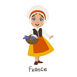 Girl In France Country National Clothes, Wearing Bonnet And Apron Traditional For The Nation