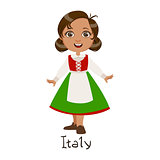 Girl In Italy Country National Clothes, Wearing Green Skirt And Apron Traditional For The Nation