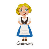 Girl In Germany Country National Clothes, Wearing Blue Skirt And Corset Traditional For The Nation