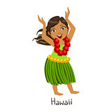 Girl In Hawaii Country National Clothes, Wearing Leaf Skirt And Neck Flower Garland Traditional For The Nation