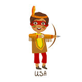 Boy In Native American Country National Clothes, Wearing Feather Headdress And A Bow Traditional For The Nation