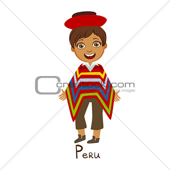 Boy In Peru Country National Clothes, Wearing Poncho Traditional For The Nation