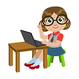 Girl In Glasses Sitting At The Desk With Lap Top, Part Of Kids And Modern Gadgets Series Of Vector Illustrations