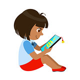 Girl Sitting Reading And Electronic Book, Part Of Kids And Modern Gadgets Series Of Vector Illustrations