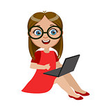 Girl In Red Dress Sitting With Lap Top, Part Of Kids And Modern Gadgets Series Of Vector Illustrations