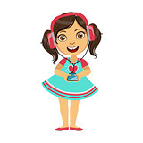 Girl listening To Music From Smartphone Through Headphones, Part Of Kids And Modern Gadgets Series Of Vector Illustrations