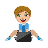 Boy Playing Video Games On Lap Top, Part Of Kids And Modern Gadgets Series Of Vector Illustrations