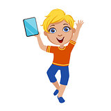 Boy Dancing Holding Tablet, Part Of Kids And Modern Gadgets Series Of Vector Illustrations