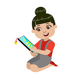 Girl Reading Text From Screen Of Tablet, Part Of Kids And Modern Gadgets Series Of Vector Illustrations