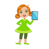 Girl Standing Showing Her Tablet, Part Of Kids And Modern Gadgets Series Of Vector Illustrations