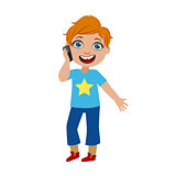 Boy Chatting On His Smartphone, Part Of Kids And Modern Gadgets Series Of Vector Illustrations
