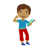 Boy Holding Tablet And Showing Thumbs Up, Part Of Kids And Modern Gadgets Series Of Vector Illustrations