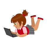 Girl Laying On The Belly With Lap Top, Part Of Kids And Modern Gadgets Series Of Vector Illustrations