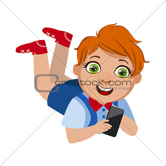 Boy Laying On The Belly With Smartphone, Part Of Kids And Modern Gadgets Series Of Vector Illustrations
