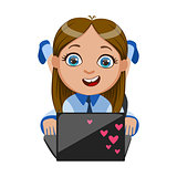 Girl Chatting On Her Lap Top, Part Of Kids And Modern Gadgets Series Of Vector Illustrations