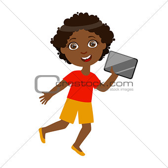 Boy Running With Tablet, Part Of Kids And Modern Gadgets Series Of Vector Illustrations