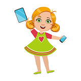 Girl Holding Tablet And Smartphone, Part Of Kids And Modern Gadgets Series Of Vector Illustrations