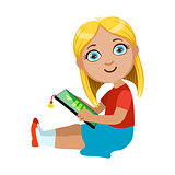 Brond Girl Sitting Reading Electronic Book, Part Of Kids And Modern Gadgets Series Of Vector Illustrations
