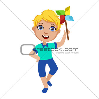 Boy With Toy Windmill, Part Of Kids At The Birthday Party Set Of Cute Cartoon Characters With Celebration Attributes
