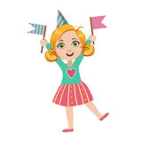 Girl With Two Flags, Part Of Kids At The Birthday Party Set Of Cute Cartoon Characters With Celebration Attributes