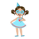 Girl With Paper Mask, Part Of Kids At The Birthday Party Set Of Cute Cartoon Characters With Celebration Attributes