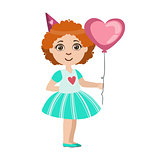Girl With The Balloon, Part Of Kids At The Birthday Party Set Of Cute Cartoon Characters With Celebration Attributes