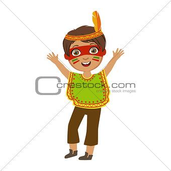 Boy In Indian Costume, Part Of Kids At The Birthday Party Set Of Cute Cartoon Characters With Celebration Attributes