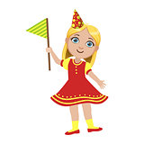 Girl In Red Dress With Flag, Part Of Kids At The Birthday Party Set Of Cute Cartoon Characters With Celebration Attributes