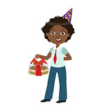 Boy With Cake In Box, Part Of Kids At The Birthday Party Set Of Cute Cartoon Characters With Celebration Attributes