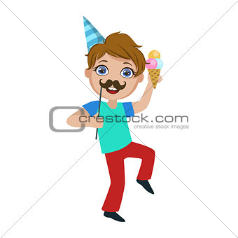 Boy With Ice-cream And Moustache, Part Of Kids At The Birthday Party Set Of Cute Cartoon Characters With Celebration Attributes