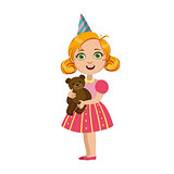 Girl With Teddy Bear, Part Of Kids At The Birthday Party Set Of Cute Cartoon Characters With Celebration Attributes