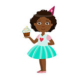 Girl With Cupcake, Part Of Kids At The Birthday Party Set Of Cute Cartoon Characters With Celebration Attributes