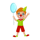 Boy In Clown Costume, Part Of Kids At The Birthday Party Set Of Cute Cartoon Characters With Celebration Attributes