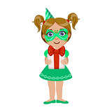 Girl In Green Mask Holding Present, Part Of Kids At The Birthday Party Set Of Cute Cartoon Characters With Celebration Attributes